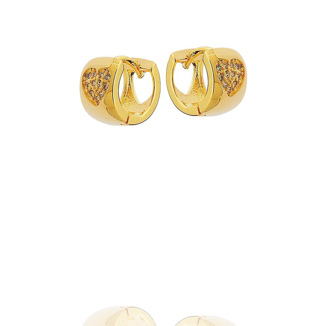 brinco argola cravejada coração 12 mm dourado