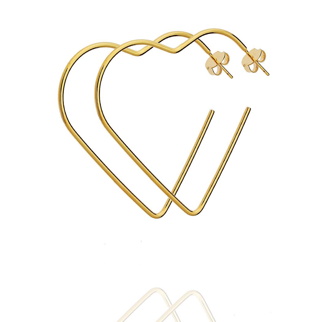 brinco argola Daiany Hank coração 50 mm dourado