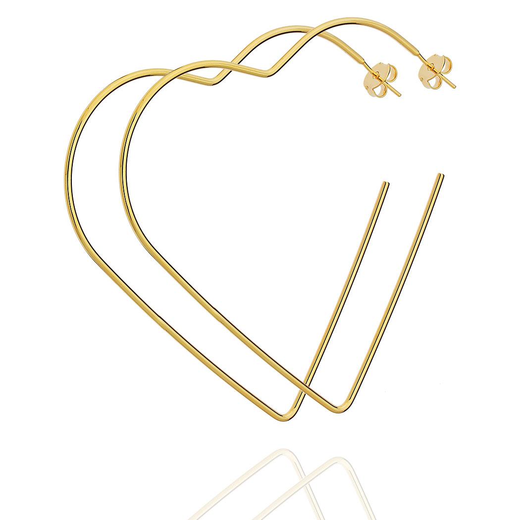 brinco argola Daiany Hank coração 80 mm dourado