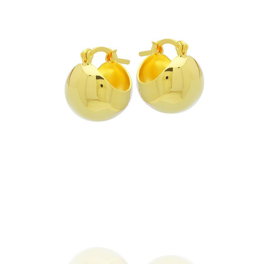 brinco argola esfera lisa semijoia dourado
