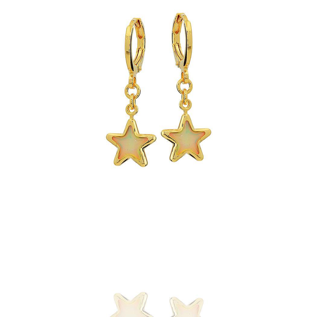 brinco argola estrela madrepérola dourado