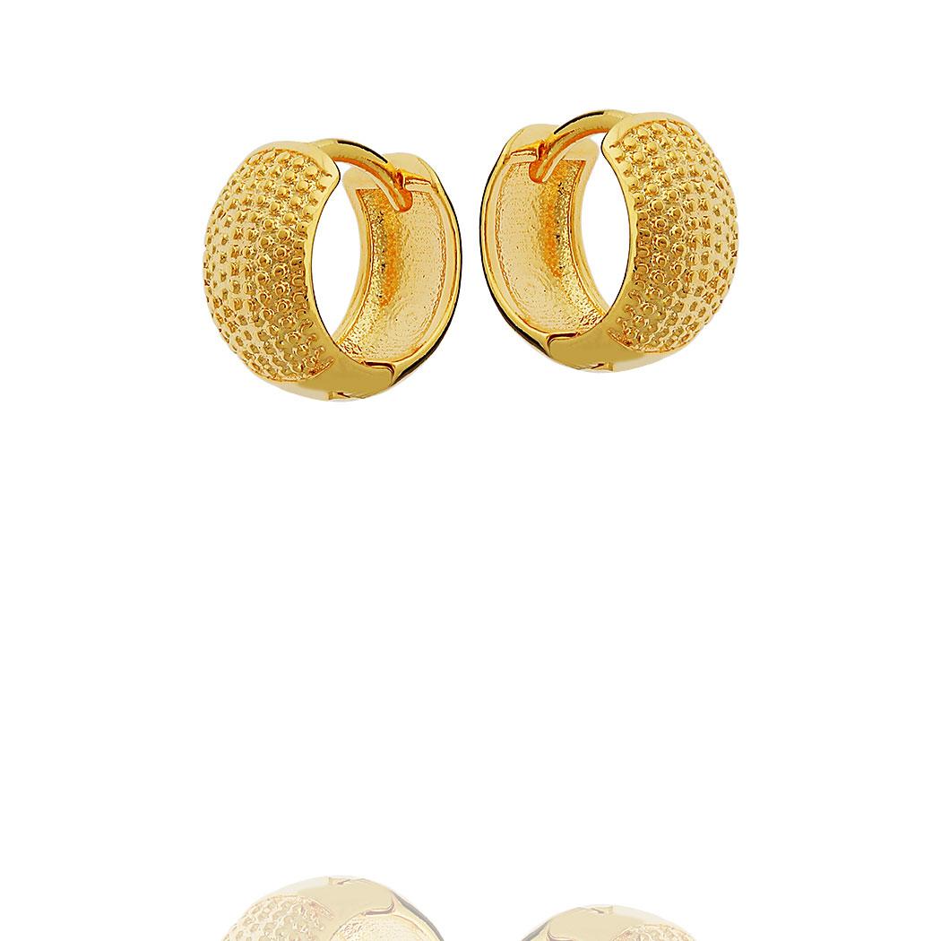 brinco argola italiana bolas 11 mm dourada