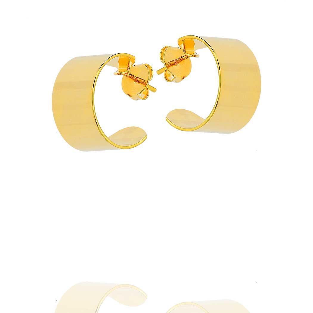 brinco argola larga pequena dourado