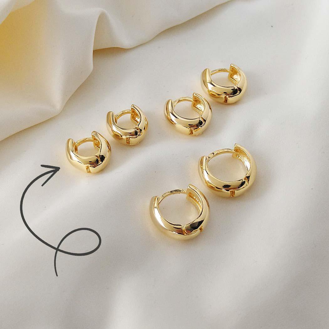 brinco argola lisa clique 13 mm dourado