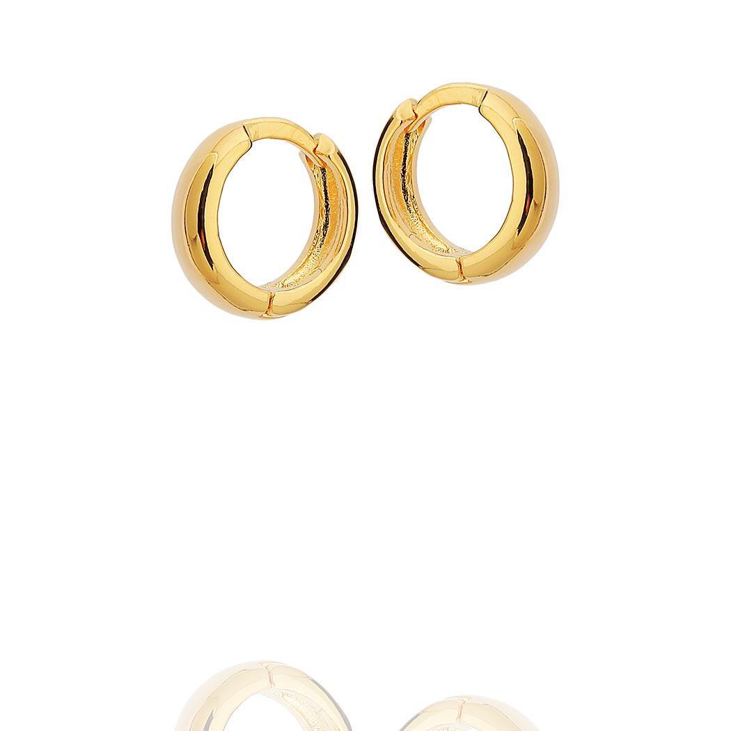 brinco argola lisa clique 14 mm dourado