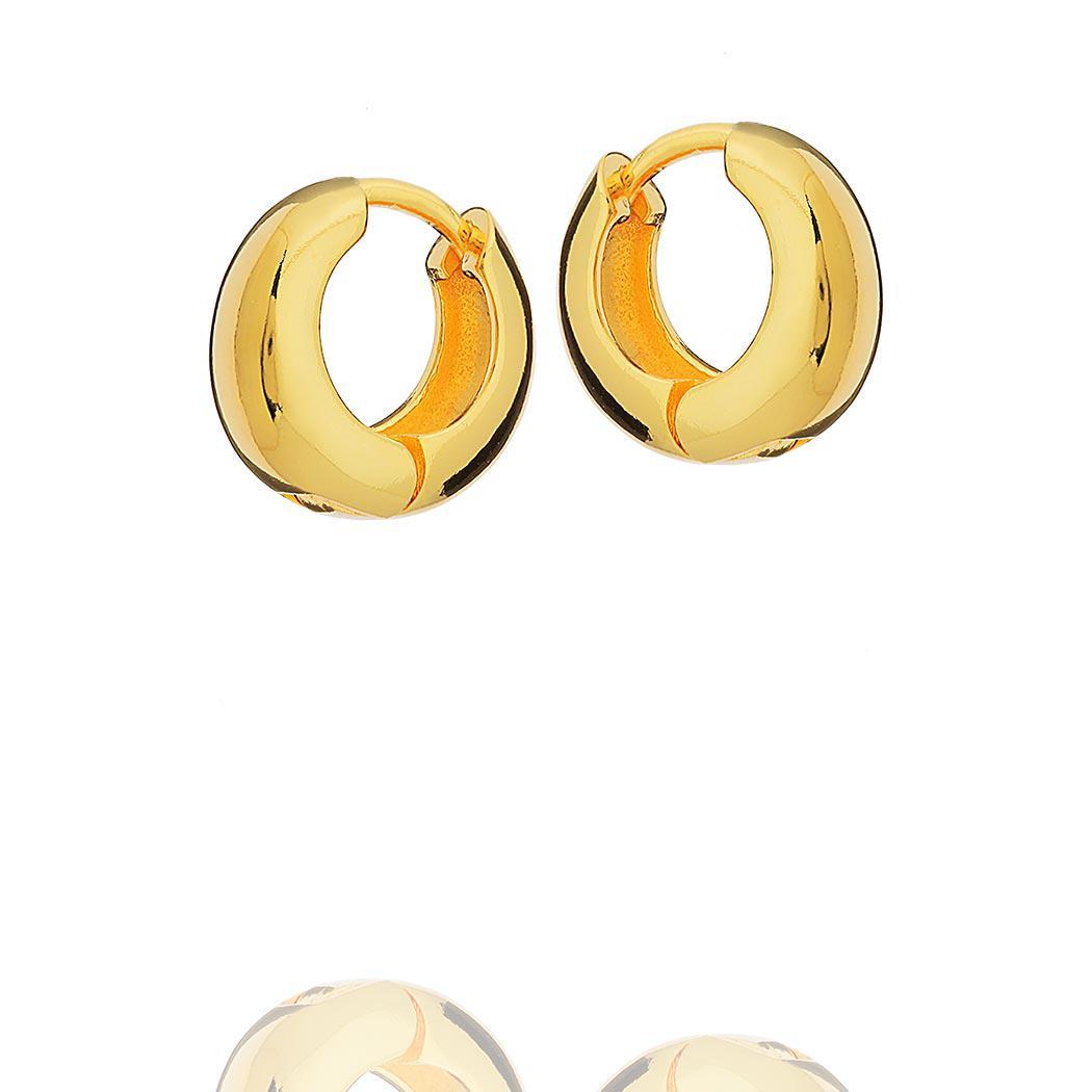 brinco argola lisa clique 15 mm dourado