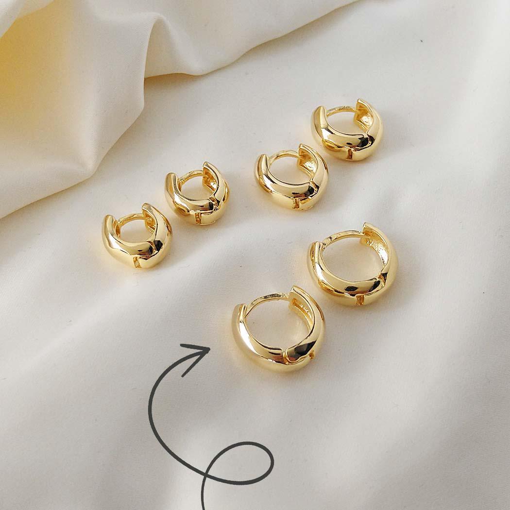 brinco argola lisa clique 17 mm dourado