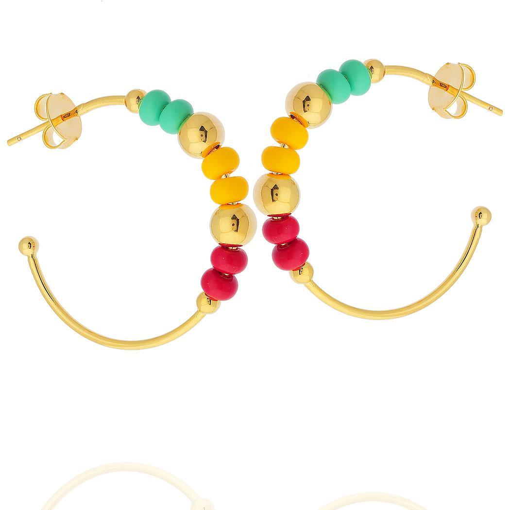 brinco argola miçangas bolas colorido