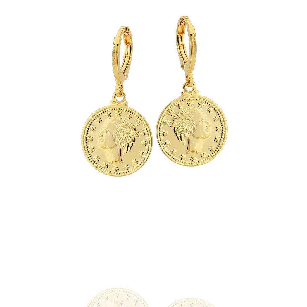 brinco argola moeda grande dourado