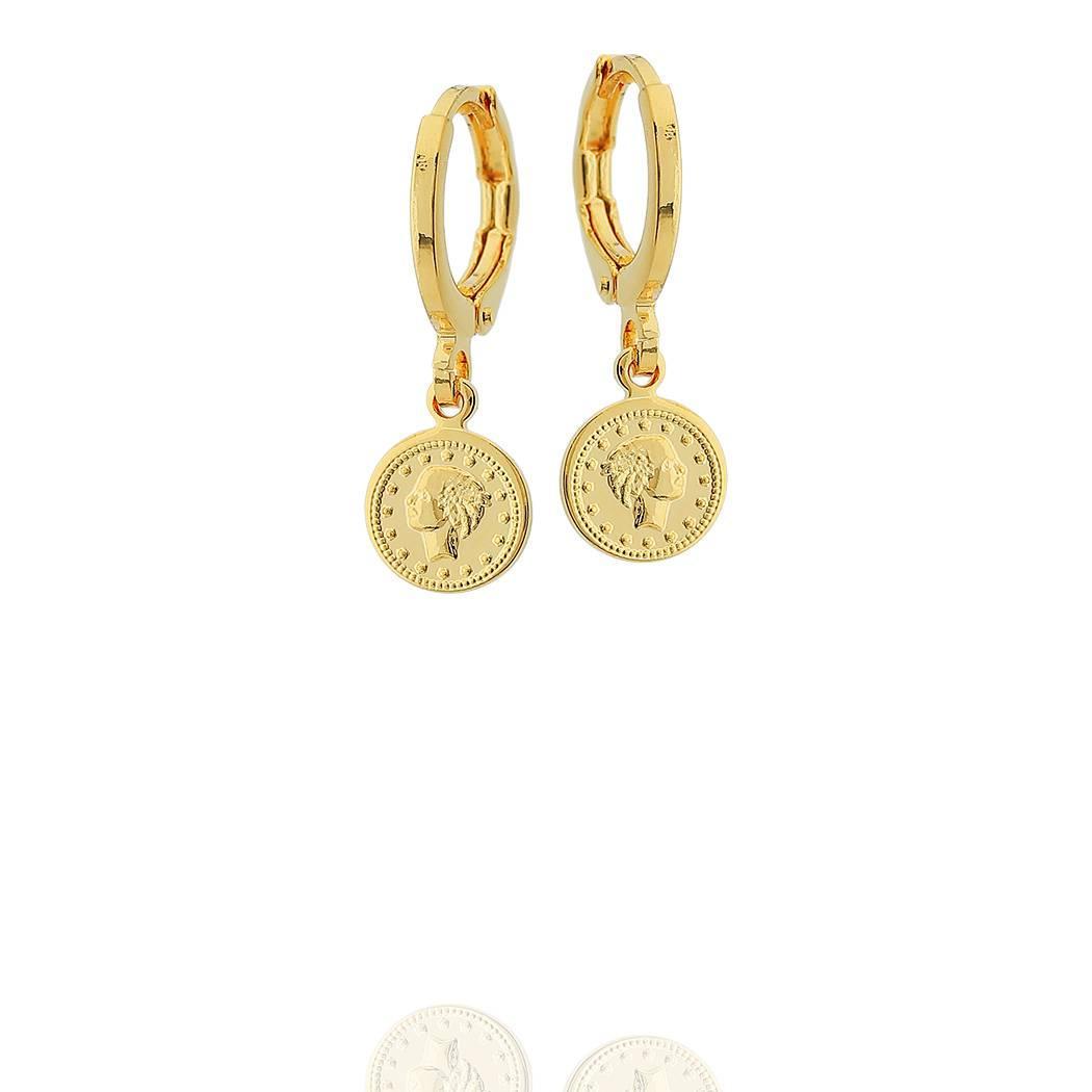 brinco argola moeda pequena dourado
