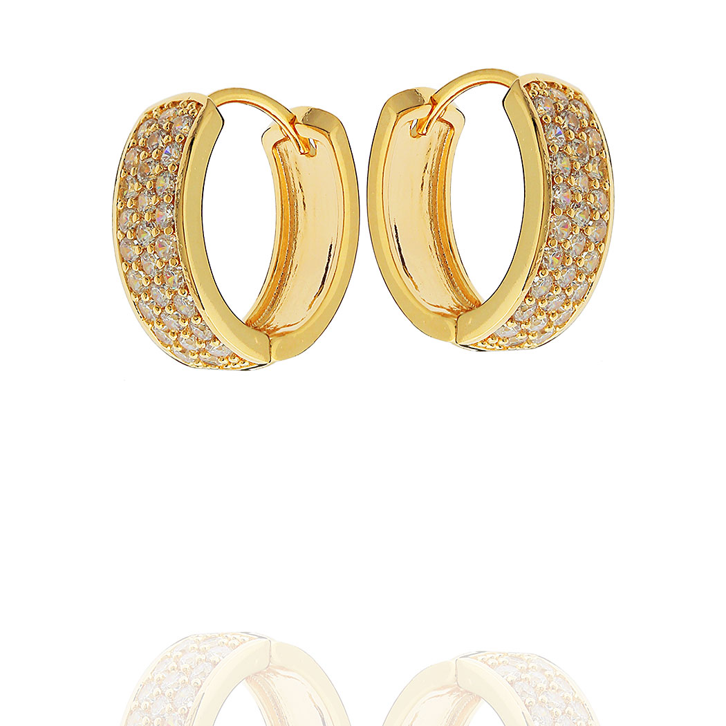 brinco argola oval zirconias dourada