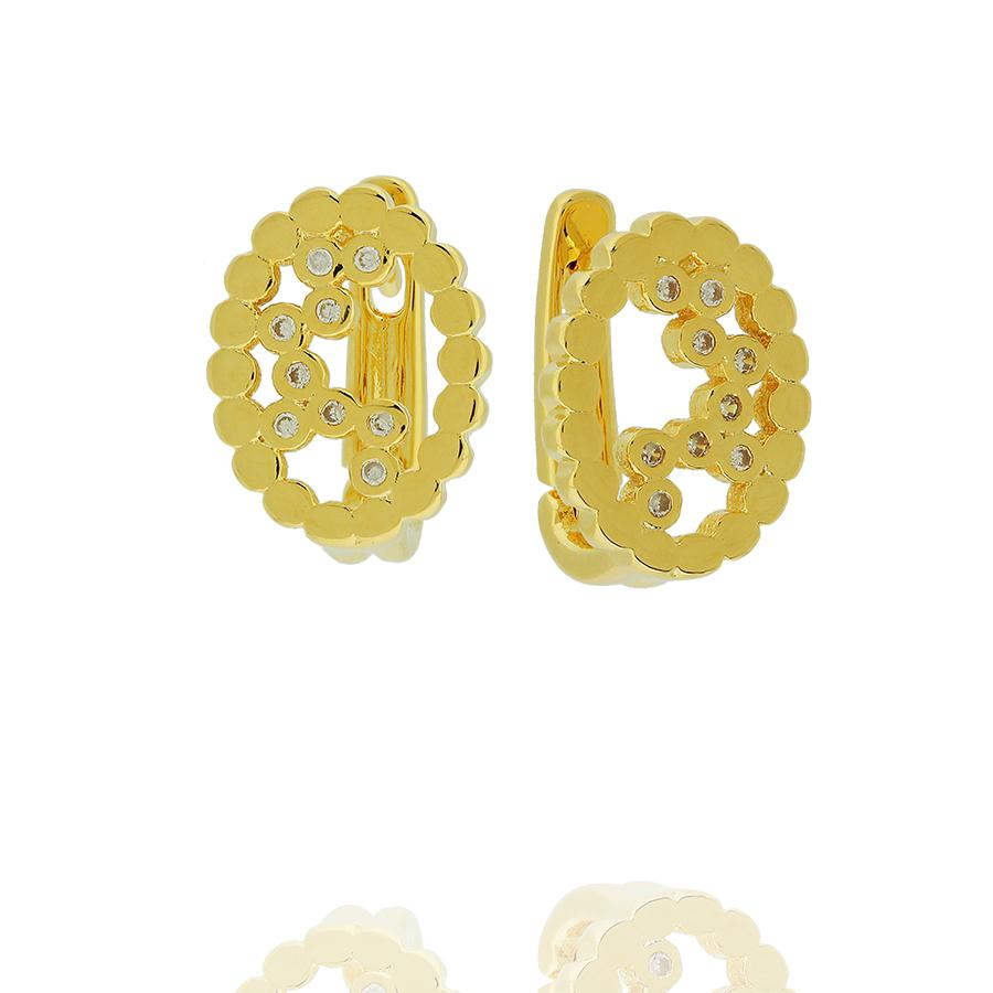 brinco argola oval zircônias dourado