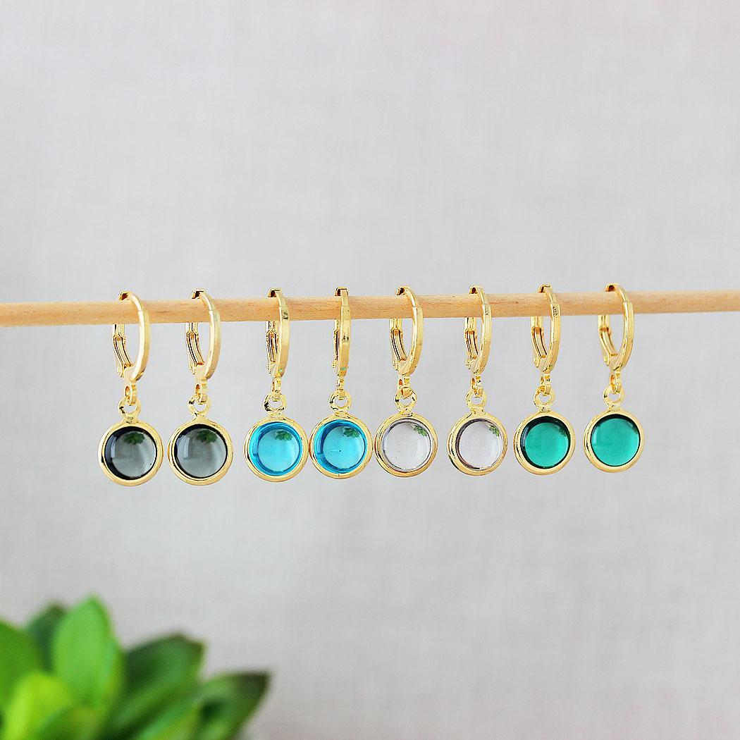 brinco argola pingente circular cristal azul dourado