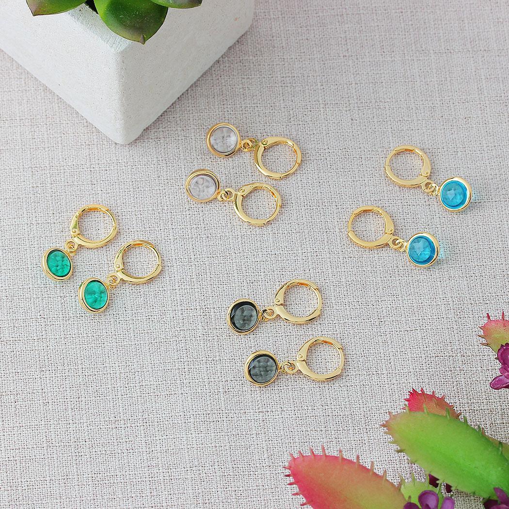 brinco argola pingente circular cristal verde dourado