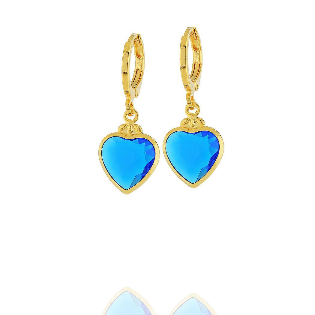 brinco argola pingente coração cristal azul dourado