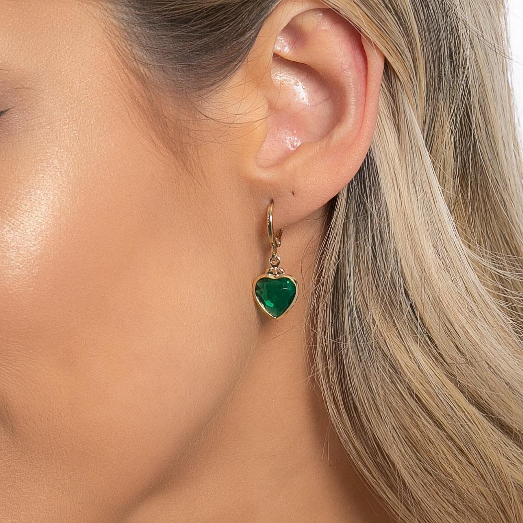 brinco argola pingente coração cristal verde dourado