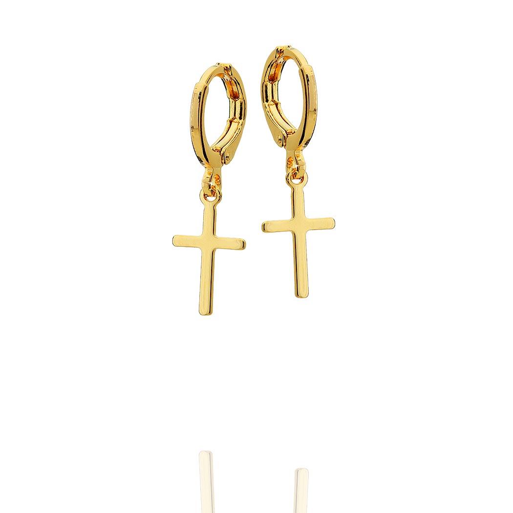 brinco argola pingente crucifixo dourado