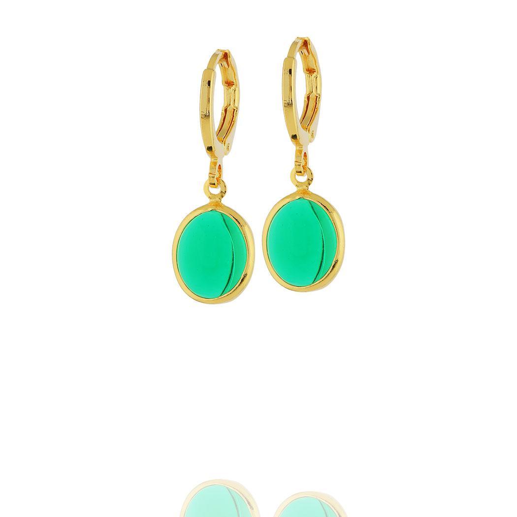 brinco argola pingente oval cristal verde dourado
