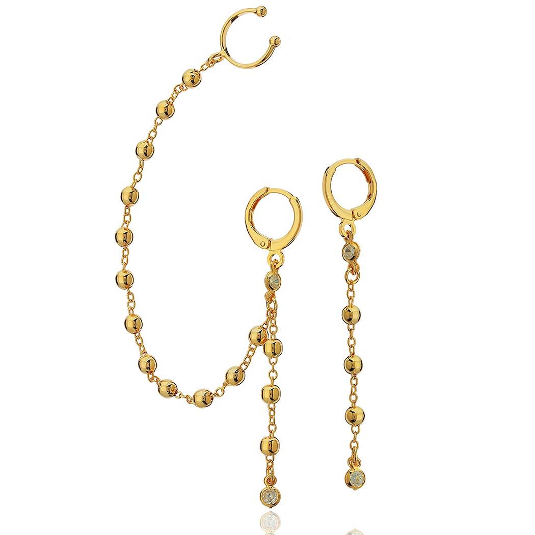 brinco assimétrico bolas piercing dourado