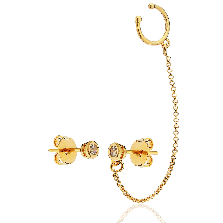 brinco assimétrico piercing zircônia solitário dourado