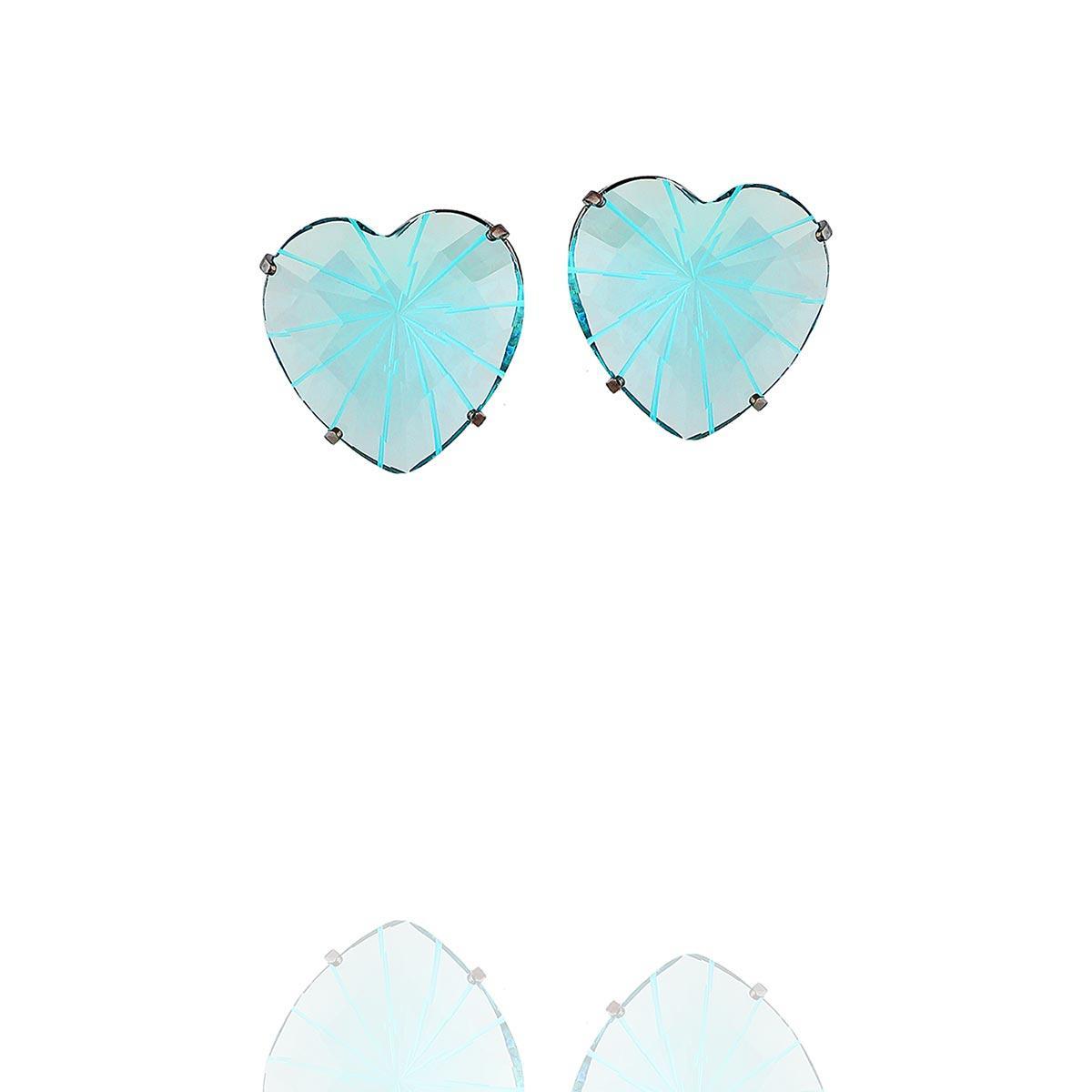 brinco aurora boreal coração zircônia azul ródio negro