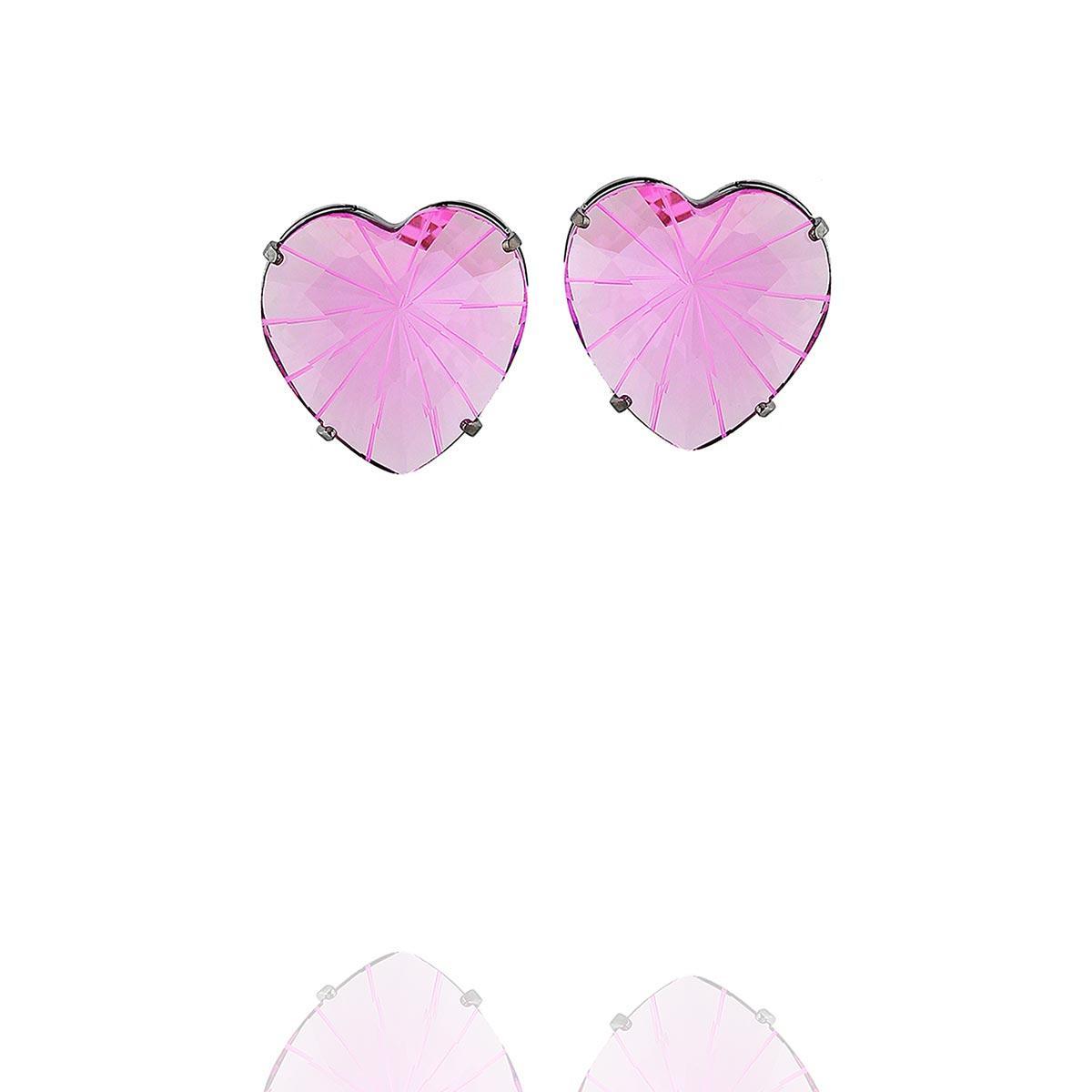 brinco aurora boreal coração zircônia rosa ródio negro