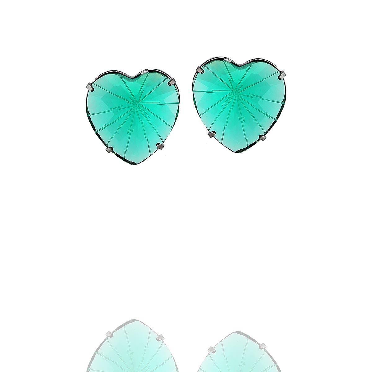brinco aurora boreal coração zircônia verde ródio negro