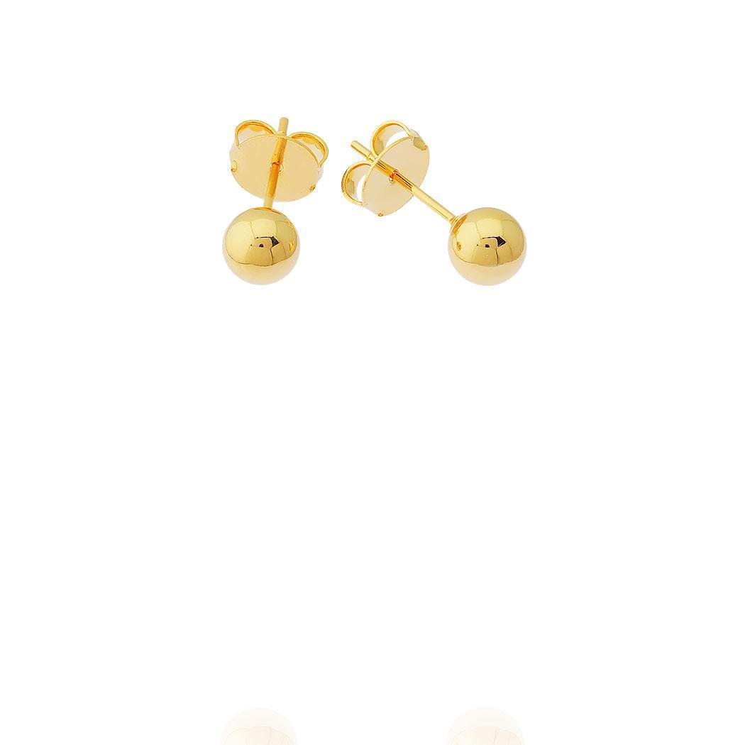 brinco bola lisa 6 mm dourado
