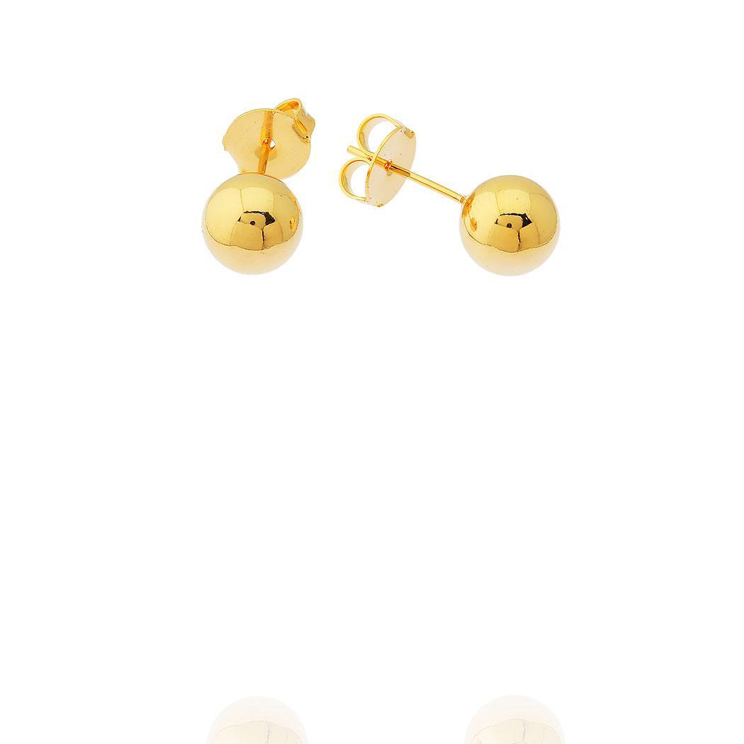 brinco bola lisa 8 mm dourado