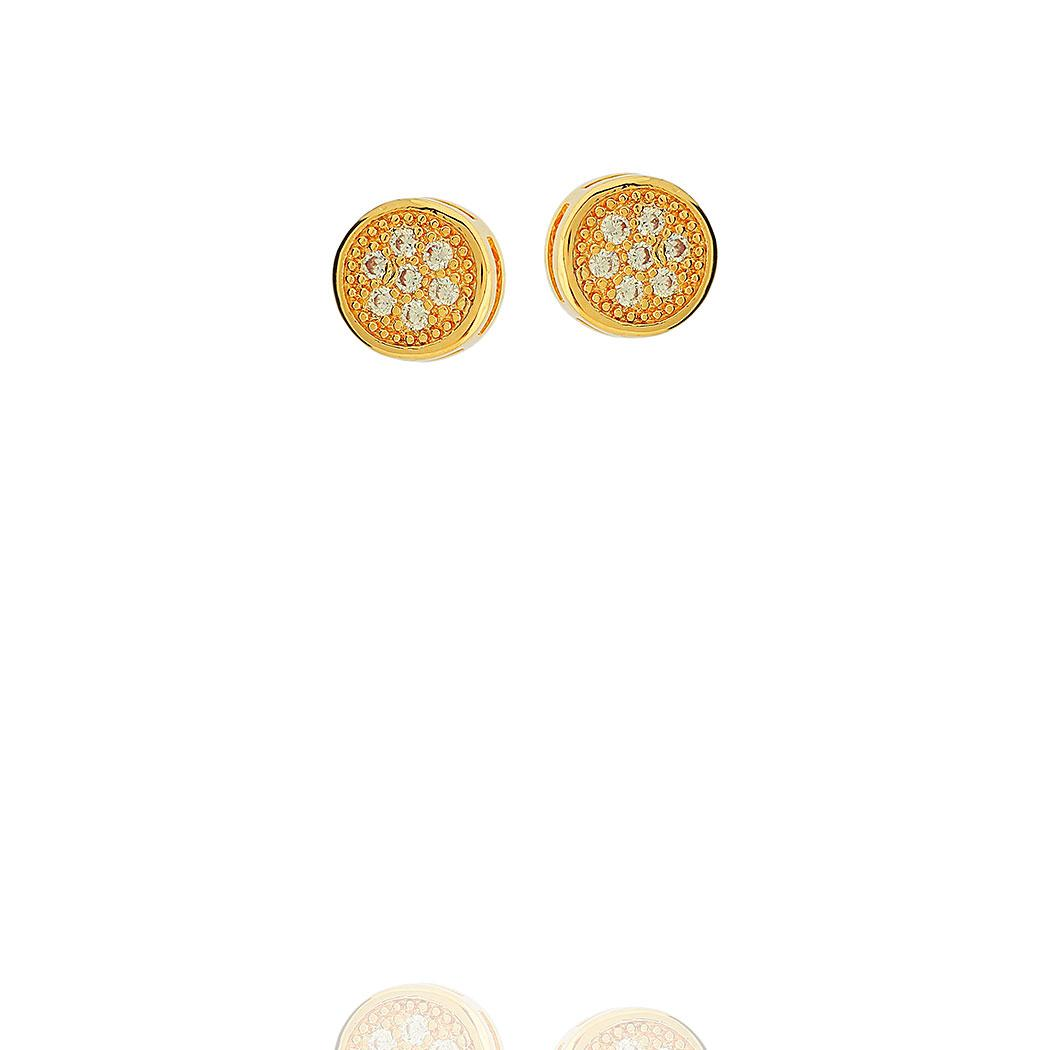 brinco chuveiro pequeno zirconias dourado