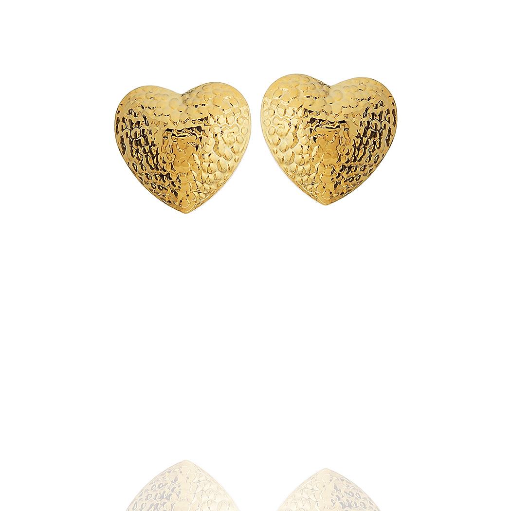 brinco coração bolinhas pequeno dourado