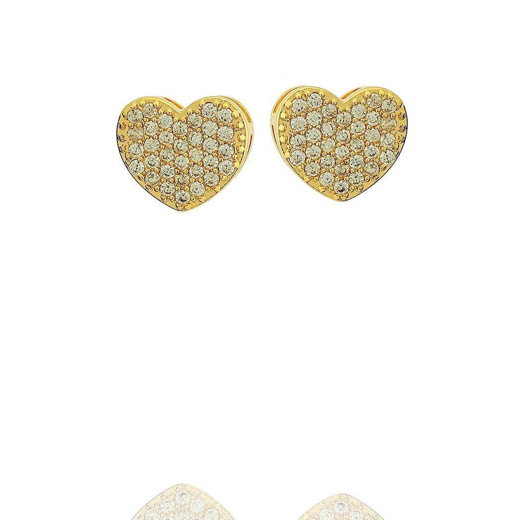 brinco coração cravejado dourado