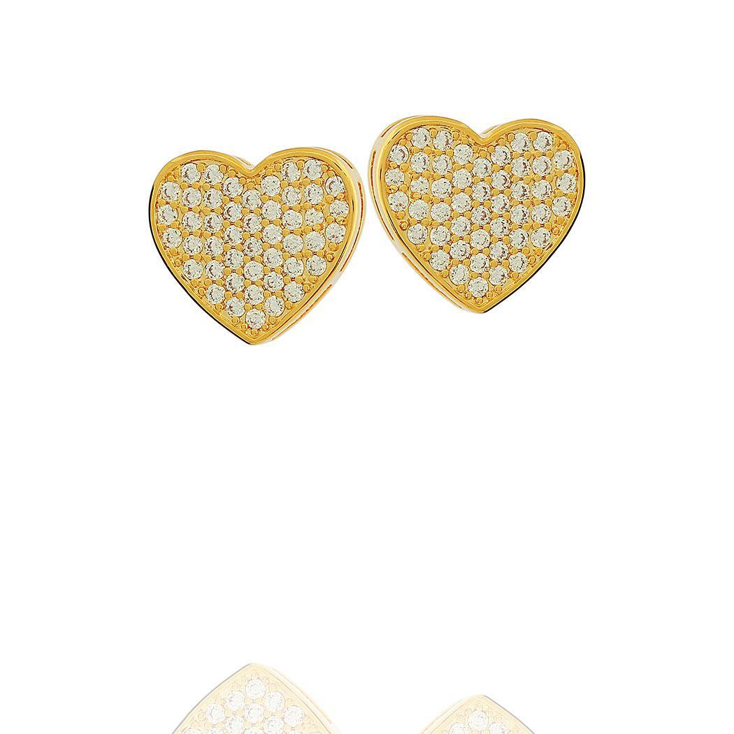 brinco coração cravejado zircônias dourado
