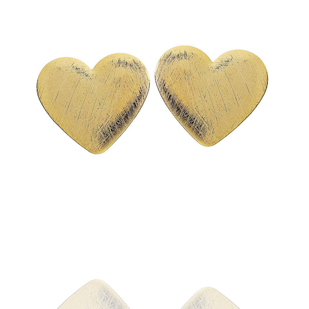 brinco coração médio escovado dourado