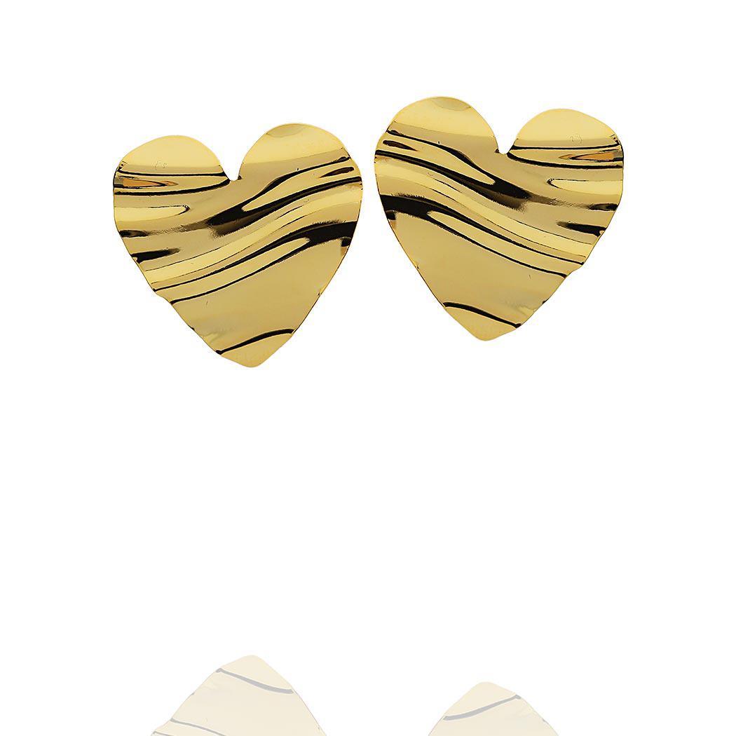 brinco coração ondas dourado