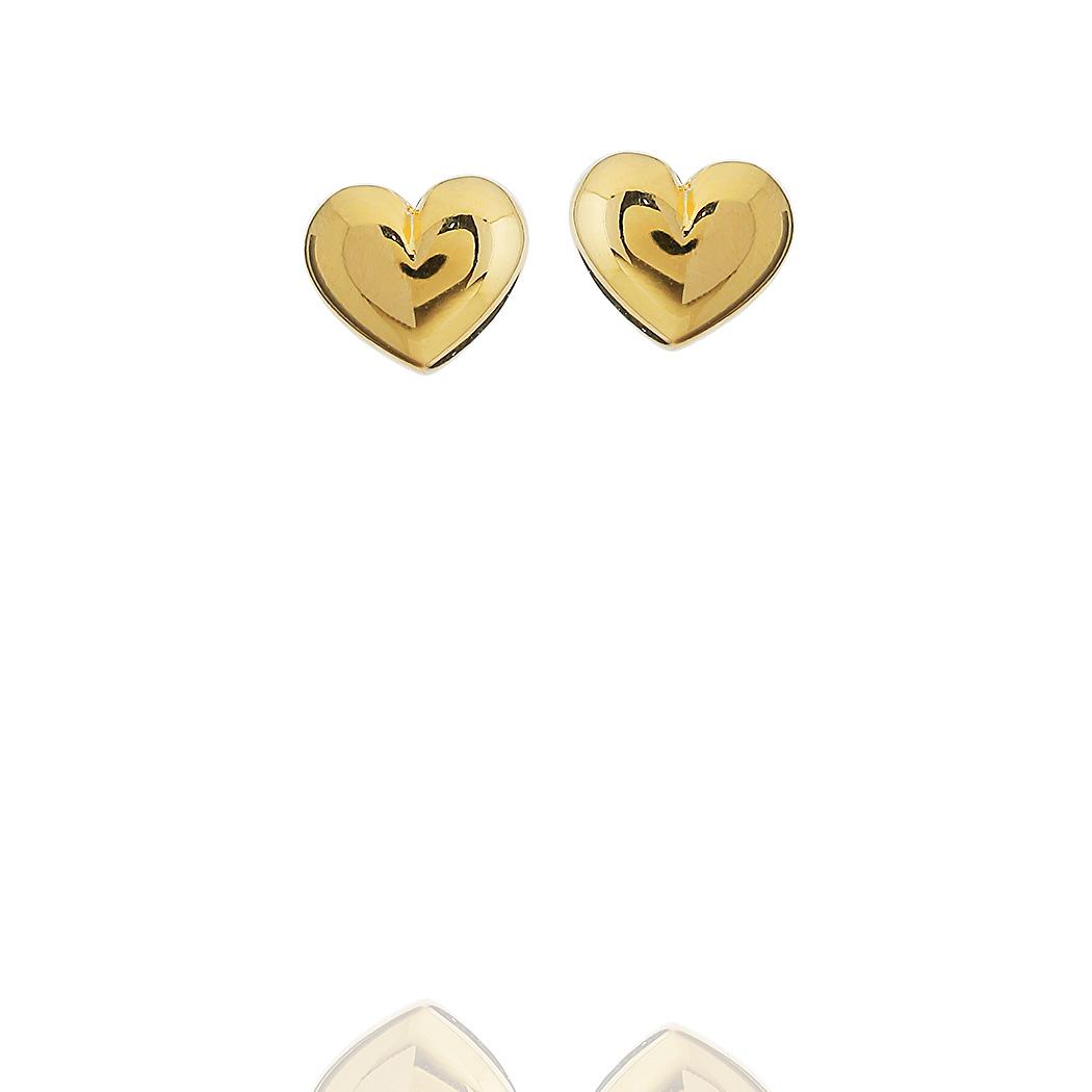 brinco coração pequeno dourado