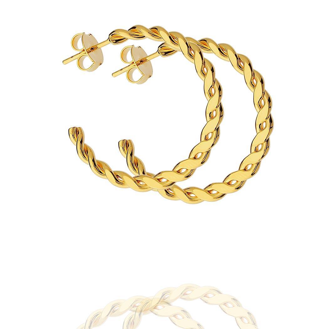brinco Daiany Hank argola torcida 32 mm dourado