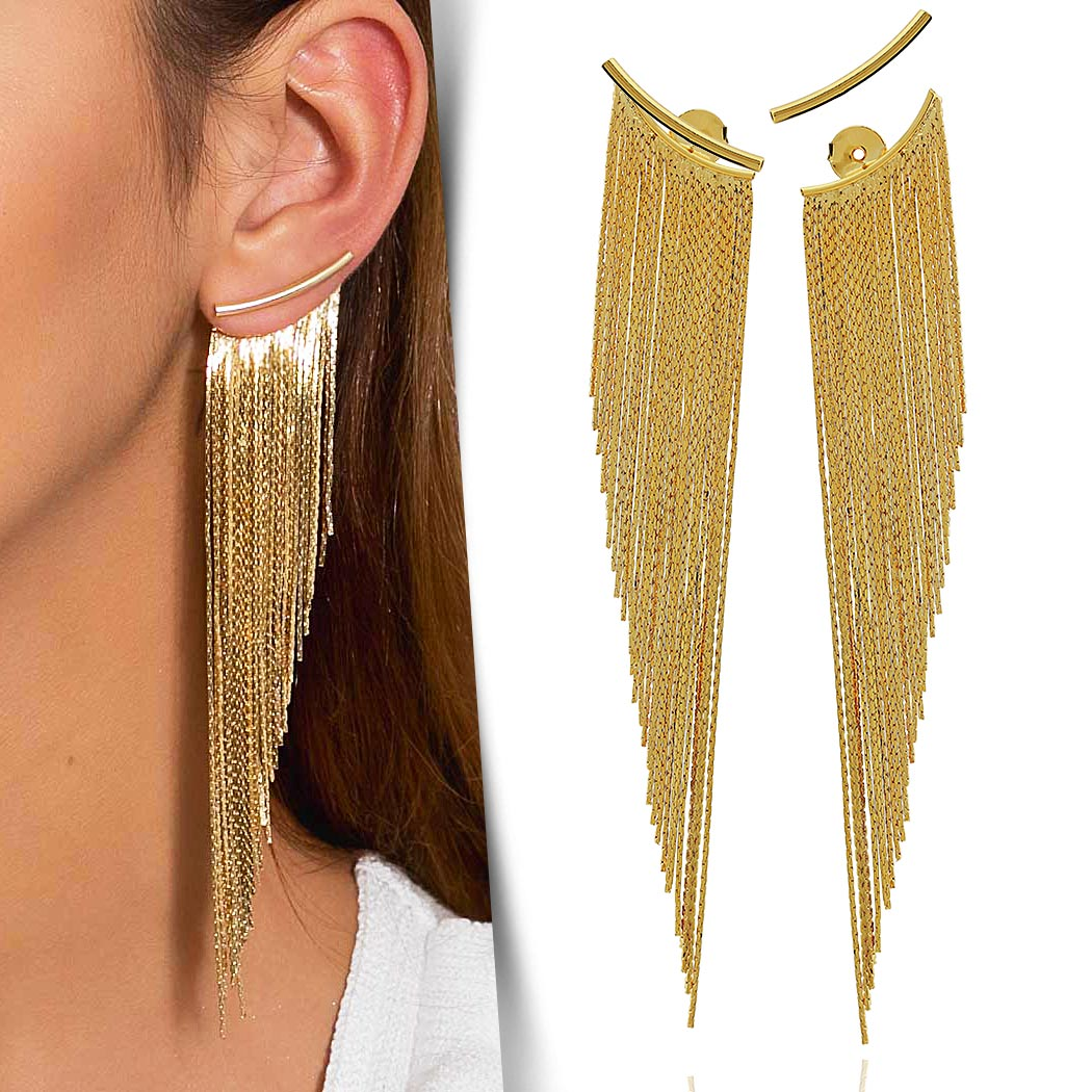 brinco Daiany Hank ear jacket franjas dourado