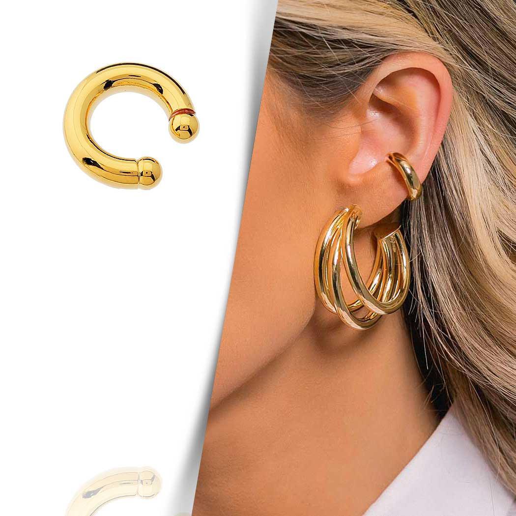brinco Daiany Hank piercing fake Elo dourado