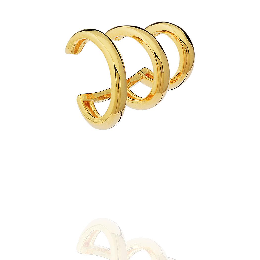 brinco Daiany Hank piercing fake triplo dourado