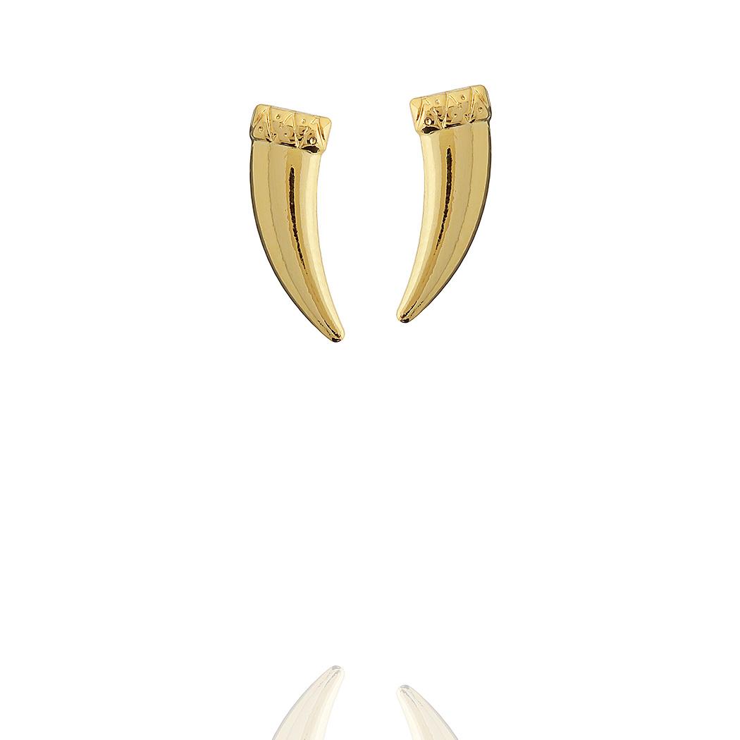 brinco dente sabre pequeno dourado