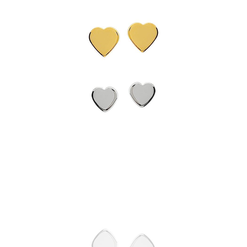 brinco duplo coração dourado ródio claro