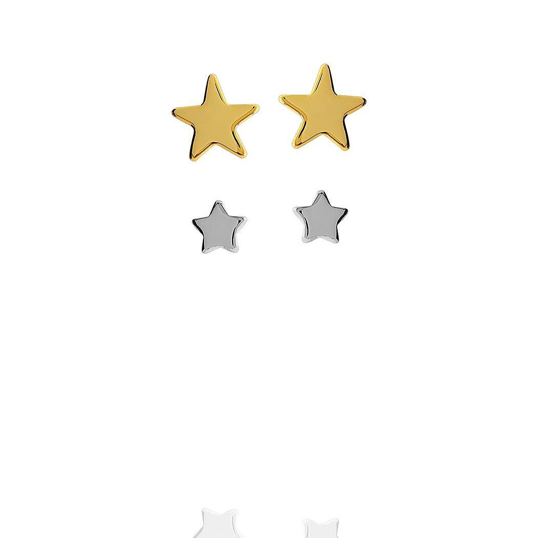 brinco duplo estrelas dourado ródio claro