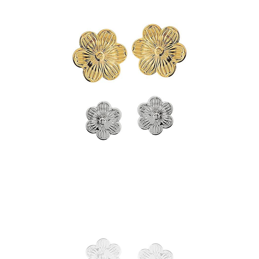 brinco duplo flor dourado ródio claro