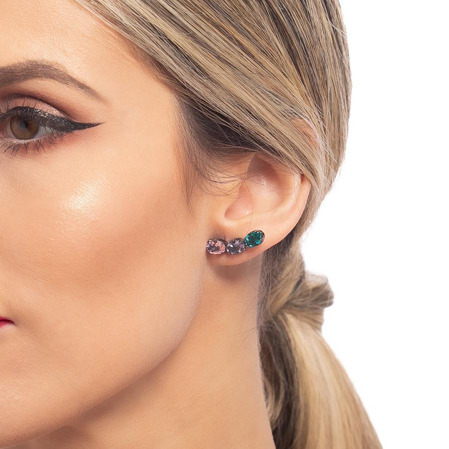 brinco ear cuff aurora boreal zircônia oval ródio negro