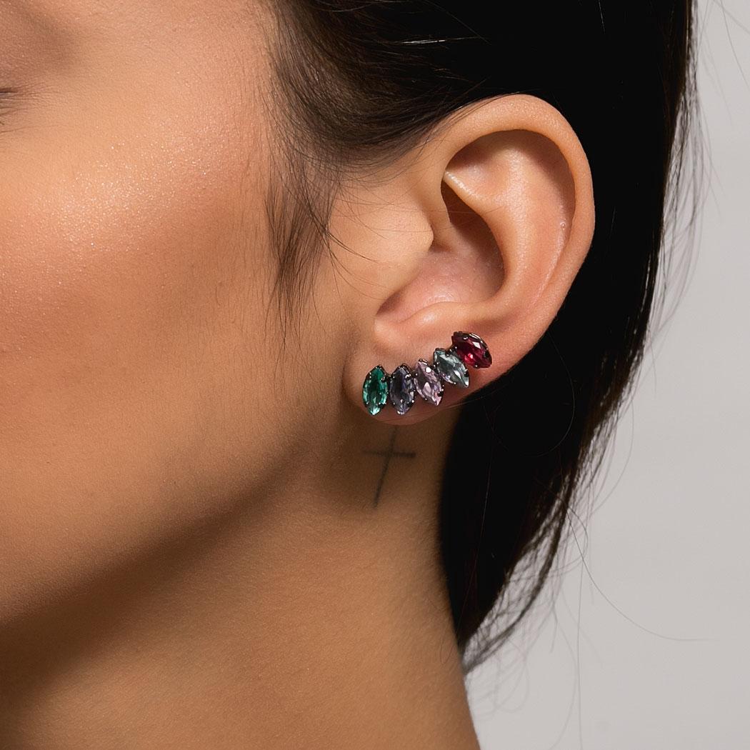 brinco ear cuff aurora boreal zircônias ródio negro