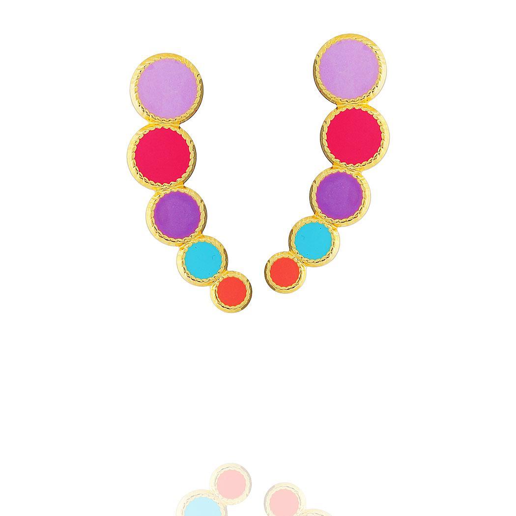 brinco ear cuff círculos colorido