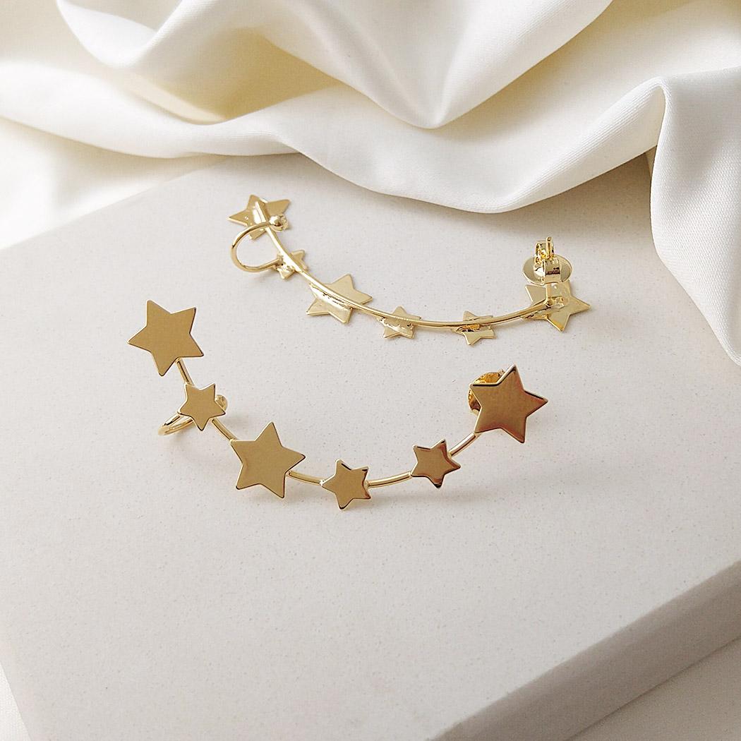 brinco ear cuff estrelas cosmos dourado