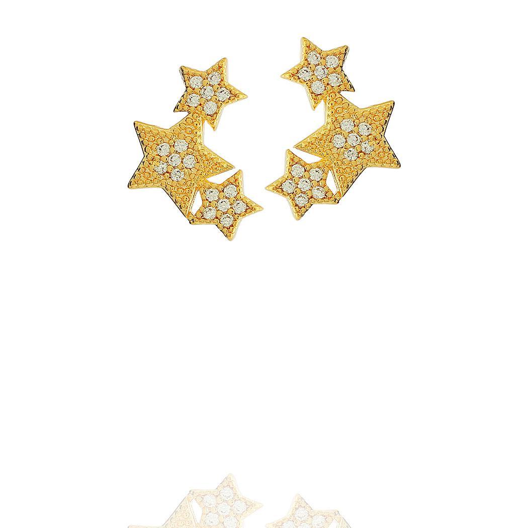 brinco ear cuff estrelas zircônias dourado