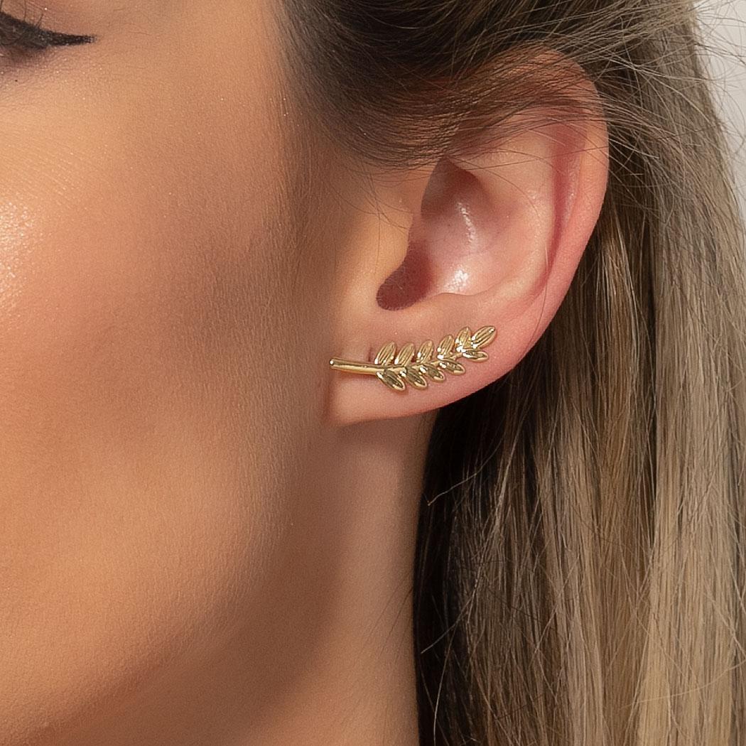 brinco ear cuff folhas dourado